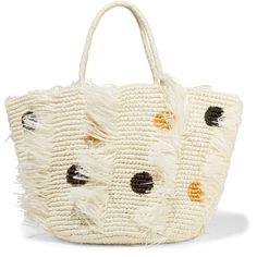 Sensi Studio Frayed polka-dot woven toquilla straw tote ($250) ❤ liked on Polyvore featuring bags, handbags, tote bags, white, fringe tote bag, straw tote bags, fringe tote, fringe purse and woven straw tote