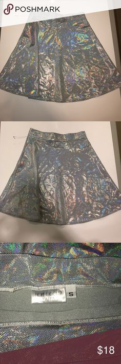 Holographic A-Line skirt Stretchy high waisted holographic skirt. Women's small. Like new home cooked karma Skirts