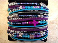 "Boho Chic Endless Leather Wrap Beaded Bracelet Romantic Ocean w/ Cross....""FREE SHIPPING"" on Etsy, $41.00"