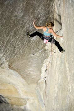 Beth Rodden on some amazing looking dihedral in Yosemite.  What route is that?