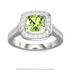 Peridot is the gem variety of the mineral olivine. Its chemical composition includes iron and magnesium, and iron is the cause of its attractive yellowish green colors. The gem often occurs in volcanic rocks called basalts, which are rich in these two elements.