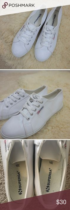 Superga Faux Leather White Sneakers Vegan leather. US size 8.5, but would fit a 9 better. Purchased new without tags on Posh, and only wore them once but are sadly too big for me. Superga Shoes Sneakers