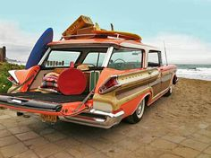 """its a surfing safari sunday with the all-new for 1957 Colony Park Station Wagon by Mercury !!! … """"jet-flo"""" styling … fake wood paneling … and that tantali"""