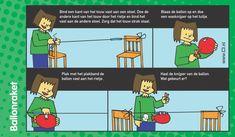 Een ballonraket bevestigd aan een draad dat gespannen is tussen 2 stoelen. Met dit experiment leren de leerlingen wat stuwkracht is.