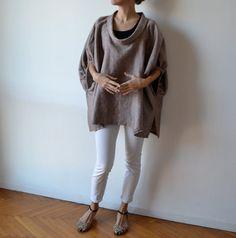Rust linen smock / plus size linen top / maternity by MuguetMilan