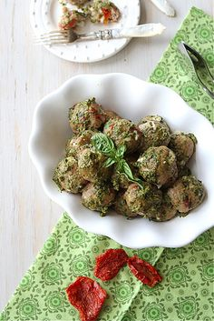 Baked Caprese Turkey Meatball Recipe with Sun-Dried Tomatoes, Mozzarella & Basil Pesto by CookinCanuck- seems legit. May leave off the pesto if serving with pasta Meatball Recipes, Turkey Recipes, Chicken Recipes, Great Recipes, Favorite Recipes, Healthy Recipes, Recipe Ideas, Recipe Inspiration, Healthy Options