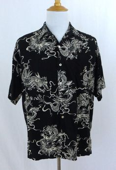 Tori Richard Shirt Large Vintage Hawaiian Black Chinese Dragons Yang Oriental #ToriRichard #Hawaiian