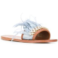 Miu Miu - jewelled feather detail sandals - women - Feather Down/Lamb... ($757) ❤ liked on Polyvore featuring shoes, sandals, jeweled shoes, leather shoes, real leather shoes, leather sandals and jewel shoes