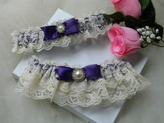 Wedding Garter Set Ivory And Purple Rachel Lace by GartersByTania, $32.00