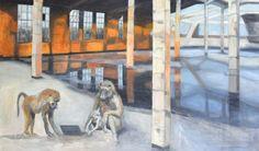 Lioba Genske: Ape Surfing - Acryl auf Leinwand, 135 x 155 cm, 2900 €