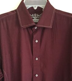 ZAGIRI Men's Shirt Size XL Burgundy with Patterned Inlays Flip Cuffs Long Sleeve #Zagiri #ButtonFront