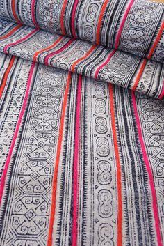 Handwoven Hmong cotton, Vintage fabric, Batki  textiles and fabrics- Table runner,
