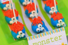 Monster Birthday Party - Toothpick NonPersonalized Printable Design by leelaaloo.com || #diy #monster #toothpick #birthday #party #Leelaaloo