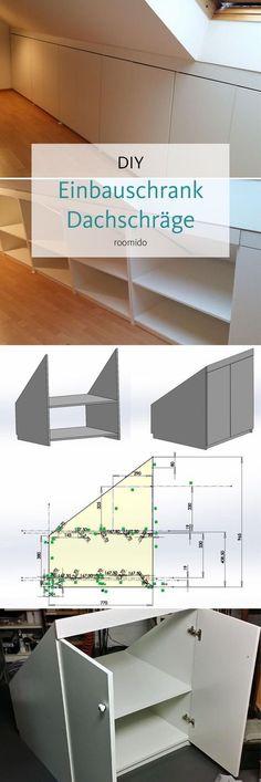 Dachschrägen: Platz optimal ausnutzen, so geht's! Do you want to build a built-in cupboard under the roof pitch? Loft Storage, Bedroom Storage, Storage Stairs, Storage Shelves, Wardrobe Storage, Basement Storage, Basement Stairs, Small Storage, Diy Storage