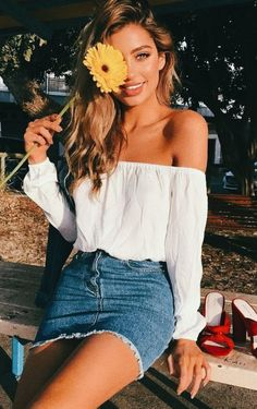 trendy outfit_white off shoulder dress red heels denim skirt outfits skirts 30 Perfect Summer Outfits To Wear In 2018 White Off Shoulder Dress, Off Shoulder Outfits, Off Shoulder Ootd, Off Shoulder Outfit Casual, Denim Off Shoulder Top, Cold Shoulder, Teen Fashion, Fashion Outfits, Womens Fashion