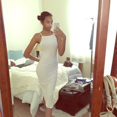"Ivory ribbed midi Only worn once for my birthday this yr. No stains, no rips, no damage. Material is thin as you can see lol.. Make sure to wear the right under garments. I'm 5'7"" for reference. Not from listed brand. Zara Dresses Midi"