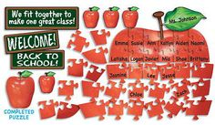 Apple Puzzle Bulletin Board - Use this large apple jigsaw to illustrate how every student is part of a bigger community that is your class! Cute Back to School Bulletin Board Ideas, http://hative.com/cute-back-to-school-bulletin-board-ideas/,