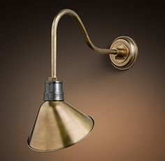 RH's Vintage Barn Angled Shade Sconce:All the functional style of the enameled fixture that's illuminated American barns for the last century, redesigned with an angled shade that directs light where you need it.