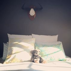 Love this bedroom shot sent to us by featuring the 'Sway' cushion cover in Lemon/Mint