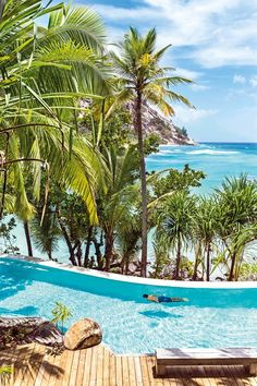 Swimming pool on North Island, Seychelles. Photo by Julien Capmeil