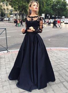 amandadress.com.au SUPPLIES Elegant 2017 Black Two-Piece Prom Dresses 2016 Long Sleeves Puffy Skirt Sexy A-line Evening Gowns Evening Gowns Black Formal Dresses