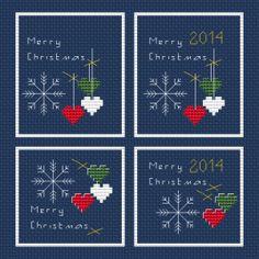 Set of 4 Mini Christmas Cards free cross stitch pattern