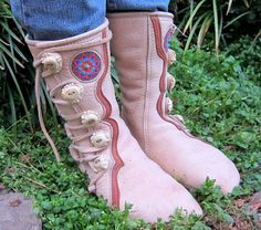 Handmade Leather Boots Moccasins with Beadwork by RiffRaffGentry, $499.00
