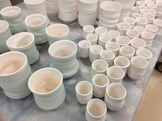From bitty size to big, mugs waiting to be glazed!
