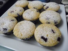 Cupcakes! Lemon Blueberry cupcakes with cream cheese middles and powdered sugar instead of icing