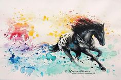 Tropical wild horse mixed media by Louise Terrier- watercolor horse tattoo idea Watercolor Horse, Watercolor Animals, Watercolor Paintings, Watercolor Tattoo, Watercolor Artists, Watercolour, Painted Horses, Horse Drawings, Animal Drawings