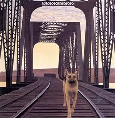 """Dog and Bridge"" by Alex Colville (b. 1920) via Bert Christensen's Cyberspace Home."