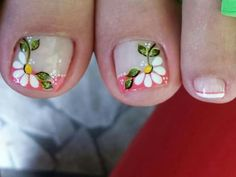 Uña Pretty Toe Nails, Cute Toe Nails, Toe Nail Art, Love Nails, Gel Nails, Pedicure Designs, Toe Nail Designs, Flower Toe Nails, Cute Pedicures