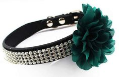 Adjustable Pet Dog Cat Leather Buckle Collar 4 Rows Bling Diamond Rhinestone With Big Flower Style *** Wow! I love this. Check it out now! : Christmas for Cats