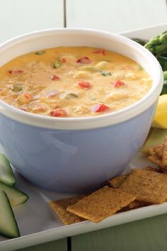 VELVEETA® Hot 'N Cheesy Crab Dip – Hot, cheesy, and flecked with bits of crab meat and peppers, this people-pleasing dip recipe starts with VELVEETA® and just gets tastier with each added ingredient. Make it as an appetizer at your next family gathering. Velveeta Recipes, Crab Dip Recipes, Seafood Recipes, Cooking Recipes, Yummy Appetizers, Appetizer Recipes, Fondue, Hot Crab Dip, Kraft Recipes