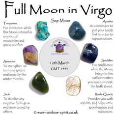 Rainbow Spirit crystal shop, Wadebridge - Full Moon in Virgo poster for March 2017