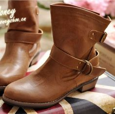 Fallwinter 2012 Elva Hsiao new leather motorcycle boots-ankle boots leather boots womens boots boots boots Martin