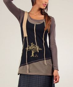Look what I found on #zulily! Black & Khaki Fiona Tank & Tee by Ian Mosh #zulilyfinds