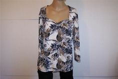 SIMPLY FRENCH Shirt Top Sz XL Spandex Stretch 3/4 Sleeves Brown Black Floral #SimplyFrench #KnitTop #Casual