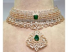 Emerald and diamond necklace Diamond Choker Necklace, Diamond Bracelets, Diamond Jewellery, Indian Diamond Necklace, Cartier Bracelet, Antique Jewellery, Stone Necklace, Indian Jewelry Sets, Fine Jewelry