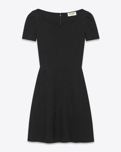 SAINT LAURENT Robes D Mini-robe 70's en crêpe de laine vierge noir f