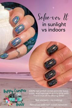 You won't be able to take your eyes off of Soho-ver It's mesmerizing, tiny holographic sparkles over black! eautiful nails in an instant! Our 100% nail polish strips provide base, color, and topcoat in every strip with the bonus of no drying time! The colors are vibrant, the finishes glossy, and they easily adhere to the nail instantly. Easy to remove with any nail polish remover. What is the accessory that makes every look complete? Nail fashion of course! No dry time, smudges, or streaks. Girlie Style, Topcoat, Nail Polish Strips, Party Pictures, Color Street Nails, Mom Birthday Gift, Nail Fashion, Simple Nails, Wedding Nails