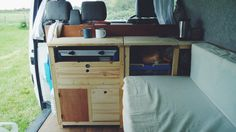 The campervan kitchen in our VW T4 Transporter is really taking shape. Photo by Natalie Coe (@Lynn Helms Bear Bean)