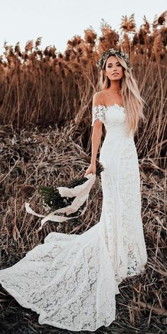30 Bohemian Wedding Dress Ideas You Are Looking For ❤ lace sheath off the shoulder sweetheart neck with train bohemian wedding dress lover sx society ❤ See more: http://www.weddingforward.com/bohemian-wedding-dress/ #weddingforward #wedding #bride #weddingdress