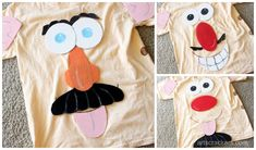 DIY No-Sew Mr. Potato Head Costume for Kids and Adults Fox Halloween, Diy Halloween Costumes For Kids, Family Halloween, Halloween Ideas, Mr Potato Head Costume, Woody Costume, Potato Heads, Cracker, Funny Faces