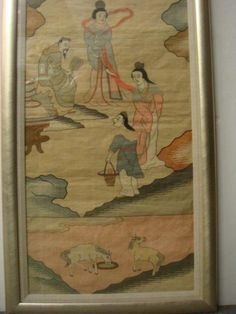 """19thC Woven Pictorial Chinese KESI Tapestry: On Raw Silk, From Qing Dynasty. Cut Design Resembling Carved Art Work with Unique Weaving Technique Done with Shuttle and Comb to Outline Pattern and Not Pierce Back of Tapestry. Panel Takes Exceptional Skill and is Highly Collectible. In Ancient China an Inch of Kesi Cost an Ounce of Gold. Imaginary Landscape in Multi-Colored Tapestry Measures 60"""" X 14"""". Design is Vertical. Known as Slit Tapestry Because of Vertical Slits. Done in a 2 Dimensional…"""