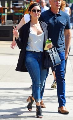 Low-cut looker! Demi Lovato donned a low-cut top for an outing in NYC on Tuesday...