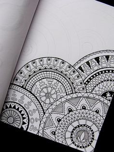 Do a mandala patterns on lots of different size/shaped pieces of paper layer…