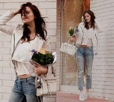 Viktoriya Sener - Bb Dakota Jacket, Belmto Top, Rebecca Minkoff Bag, Mango Jeans, Adidas Trainers - WIND