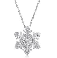 Diamond Snowflake Heart PendantNecklace in Sterling Silver 18 inch Chain *** You can get additional details at the image link.