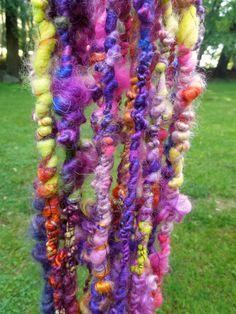 Berry Bumble Handspun Art Yarn Coily Ply by RainbowTwistShop, $53.75